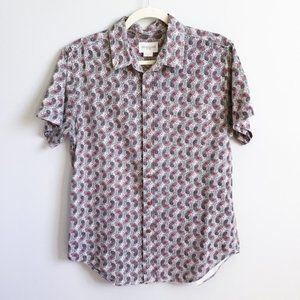 OBEY Propaganda Short Sleeve Button Front Shirt, M